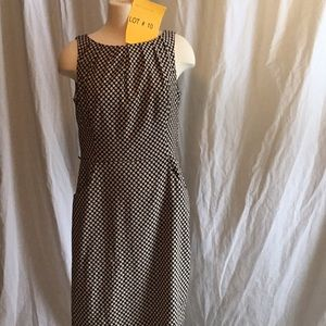 Midi dress in pencil style black & tan in size 12